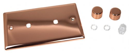 Varilight WYD2.CU Urban Polished Copper 2 Gang Dimmer Plate Only + Dimmer Knobs (Twin Plate)
